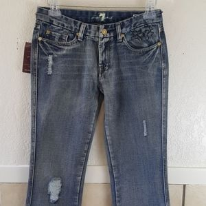 Seven for all mankind bootcut distressed jeans NWT